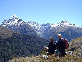 Chris and Brian at Key Summit, Fiordland.